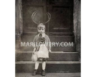 5x7 Inch Art Print, Black and White, Girl with Antlers, Oddities, Weird Art, Creepy Cute, Strange Decor, Collage Print