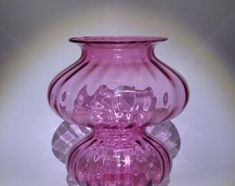 Mid Century Hand Blown Pilgrim Cranberry Glass Ribbed Optical Hurricane Art Glass Vase Cranberry Glass Art Glass Vase Pink Art Glass Vase