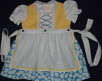 Yellow and Blue Daisy Baby Dirndl