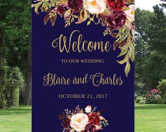 Welcome Wedding Sign Template / Navy and Marsala Editable / 16x20, 18x24 24x36 - Floral - Navy / Gold / Blush / Burgundy / Marsala / Wine