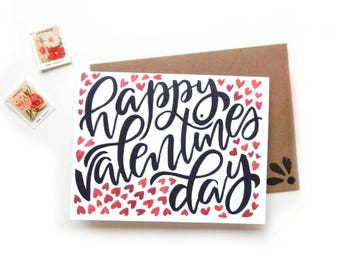 Happy Valentines Day Tiny Hearts Card | Original Watercolor Brush Lettering Calligraphy Heart Watercolor Card