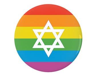 Jewish LGBTQ Pride Flag Pinback Button