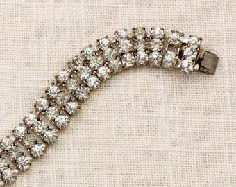 Vintage Bracelet Triple Strand Silver Rhinestone Chain Costume Czecho Jewelry 7J