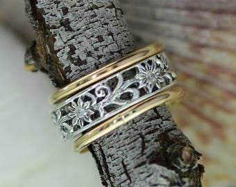 Wildflowers Thumb Ring -  Sized - Stack of Three Rings - Thumb - Finger - Gold Filled and Sterling Silver