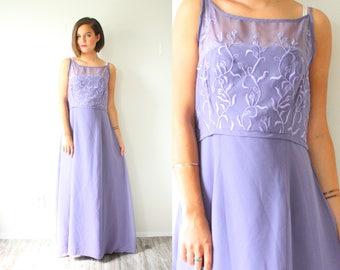 Vintage Purple maxi dress // prom lace embroidered dress // boho dress // 50's 60's dress / lace illusion neckline sheer halter formal dress