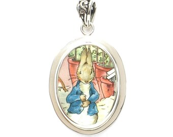Broken China Jewelry Beatrix Potter Peter Rabbit In the Garden Sterling Oval Pendant
