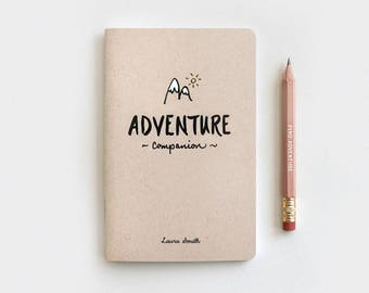 Graduation Gift, Personalized Travelers Notebook, Adventure Companion Travel Journal & Pencil Set, Brown Recycled Notebook