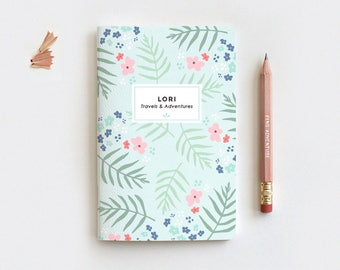 Mint Floral Personalized Journal & Pencil Set, Midori Insert - Illustrated Palm Leaf Floral Notebook Stocking Stuffer