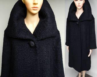 Vintage 1950s Coat | 50s Designer Coat | Black Coat | Enchanting Coat | Black Wool Coat | Big Shawl Collor Coat