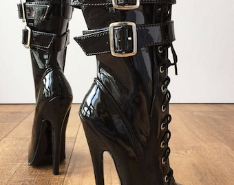 "MAID'S II (No Zip) 18cm 7"" Stiletto Heel Fetish 2 Buckle Strap Hot Pink Patent"