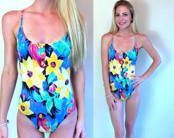 vtg 80s PARROT PRINT tropical SWIMSUIT xs/s floral bathing suit swimwear one piece jungle birds
