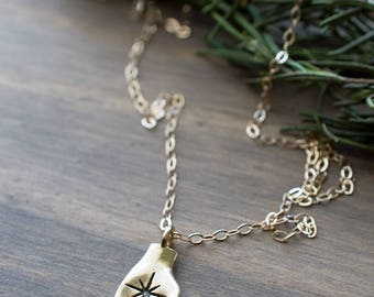 Handful of Magic Necklace - Hand and North Star, Polaris, Wind Rose Necklace Sterling Bronze Totem