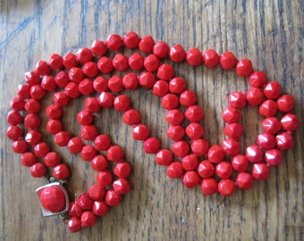 "Vintage Retro Bright RED Faceted Glass double Strand Necklace 1950's 17"" Long"