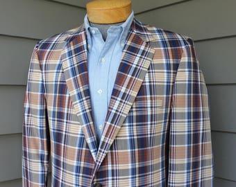 vintage 1980's -Warren Sewell- Men's spring / summer sport coat. 'New Old Stock' Madras look - .  US Size 40 Long