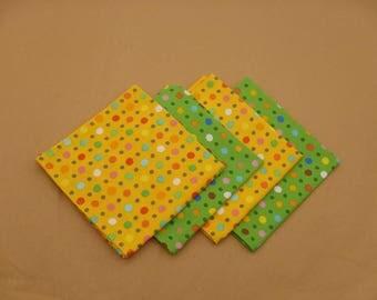 Polka Dot Napkins, Lunchbox Napkins, Green & Gold Napkins, Set of 4, Cocktail Napkins, Small Napkins, Cloth Napkins, Small Cloth Napkins