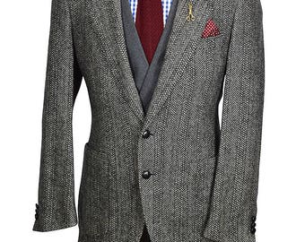 40L Shoulder Vented Preppy Gray Windowpane Herringbone Tweed Sport Coat