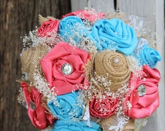 Turquoise and Coral Satin, Burlap and Lace Bridal Bouquet, babies breath, Fabric bouquet, Rustic, Country, Wedding flowers, Satin Bouquet