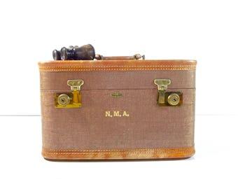 Vintage Tweed Train Case / Brown Tweed Striped Suitcase / Vintage Luggage