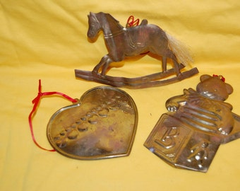 Christmas Tree Ornaments Copper Rocking Horse Teddy Bear Jack in the Box  Hearts Dept.56 Stamped Copper Christmas Ornaments Department 56