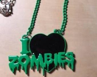 "Green & Black ""I Love Zombies"" Choker Pendant Necklace, Zombie Jewelry, Zombie Findings"