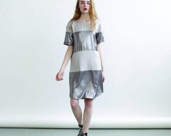 Summer Sale 30% off Striped dress Silver and Grey