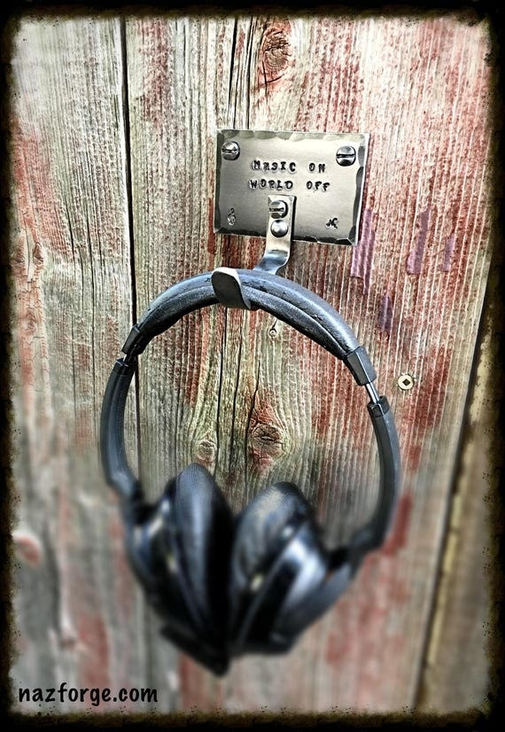 HEADPHONE HOOK  with Personalized Option - Original Design by Naz Forge - Heavy Duty - Industrial Metal Hook Hanger - Music Accessory