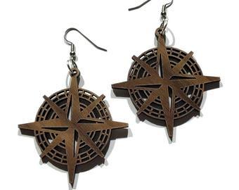 Compass Rose Sustainable Wooden Earrings - in Walnut - Nautical Wood Dangle Hook Earrings