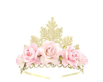 NEW gold lace TIARA with large pink roses || Flower girl or Bridesmaid crown|| Tallulah