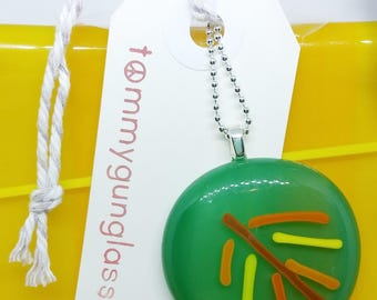 Green Leaf Glass Pendant with Silver Chain