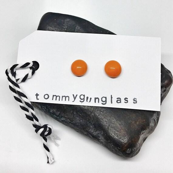 Orange Glass Stud Earrings