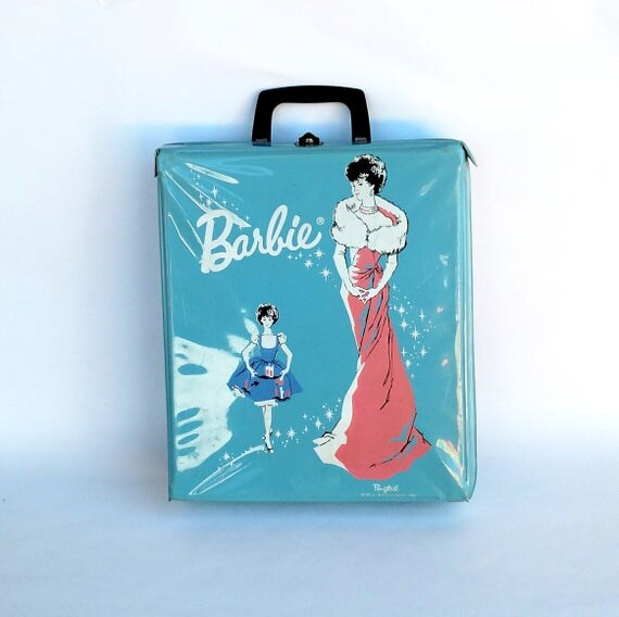 Vintage 1962 Ponytail Barbie Case by Mattel - Powder Blue with Pink and White