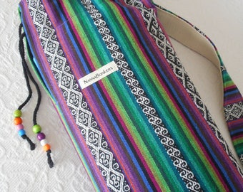 Yoga Mat Bag - SALE -  Mexican Woven Fabric - PURPLE - pure Cotton, pretty beaded draw string, plenty of wiggle room.