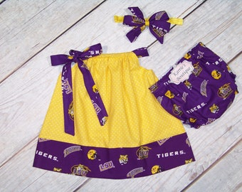 LSU Dress Outfit / Purple + Gold / Football / Geaux Tigers / LSU Baby / Game Day / Sports / Newborn / Infant / Baby/ Girl/ Toddler/ Boutique