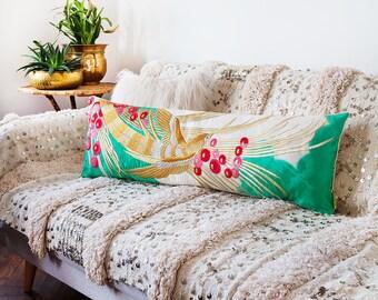Embroidered Bolster Pillow, Silk Window Seat Cushion, Vintage Marriage Kimono Bench Cushion, Unique Wedding Gift For Couple, Luxury Velvet