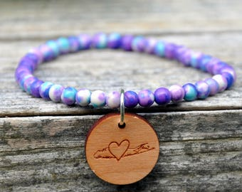 Purple/Blue Splash Beaded Long Island Love Bracelet