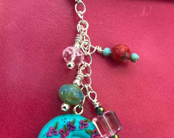 Monogram R flower and bead dangle charm for travelers notebook journals planners purse or cell phone