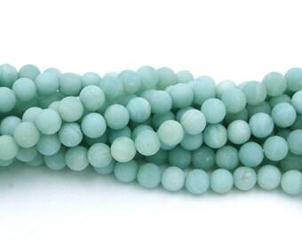 10mm Brazil Amazonite Round Beads in Matte Ocean Blue-Green -15.5 inch strand