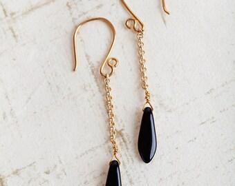 Long Dagger Earrings, Black Copper, Dagger Earrings, Reversible Jewelry, Long Earrings, Chain Earrings, Copper, Gold, Black, Black Earrings
