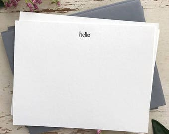 Hello Letterpress Flat Note Cards (Set of 9)