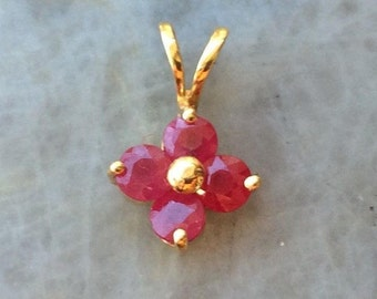 14k Genuine Ruby Flower Pendant