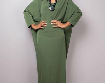 Green Dress, green mid length dress, lounge dress, oversized dress,  loose fitting green dress, plus size dress : Street Chic no 3