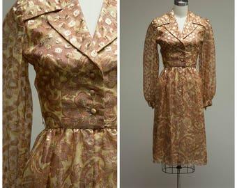 Vintage 1970s Dress • Golden Opportunity • Polka Dot Designer 70s Cocktail Dress by Oscar de La Renta Size Small