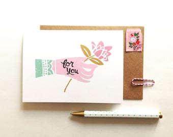 Hand Holding Flower Card - Everyday, For You, Thank You, Thinking of You, Illustrated Greeting Card