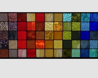 Stained glass window panel geometric rainbow squares stained glass panel window hanging modern abstract transom 0271 22 1/2 x 10 1/2