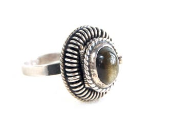 Mexican Poison Ring Vintage Gray Cats Eye and Sterling Silver Secret Compartment Adjustable Size 7 .75
