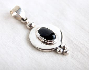 Onyx Pendant Vintage Mexican Sterling Silver Colonial Victorian Style Goth Necklace Finding