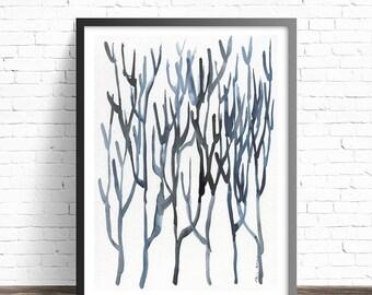 Indigo print. Modern wall art. Sea weed print. Modern abstract art. Indigo wall art. Modern art print. Abstract Art Prints. Minimalist print