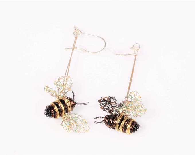 Featured listing image: Bee earrings, wire sculpture art, dangle drop, different, gold earrings, insect jewelry, hippie, mothers day, Easter, unique gift for women