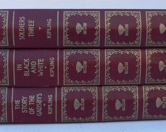 vintage books, Kipling,maroon and gold book decor, set of 3, library filler, from Diz Has Neat Stuff