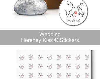 Monogram Beauty And The Beast Hershey Kiss® Candy Sticker | Candy Table Decor | Wedding Candy Labels
